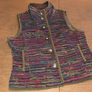 CHRISTOPHER & BANKS Multi Color Lined Vest Jacket